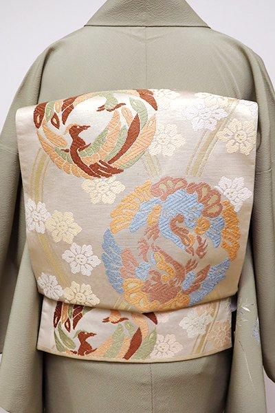 銀座【L-4238】西陣 川島織物製 本袋帯 薄卵色 立涌に鳳凰の丸文(落款入)