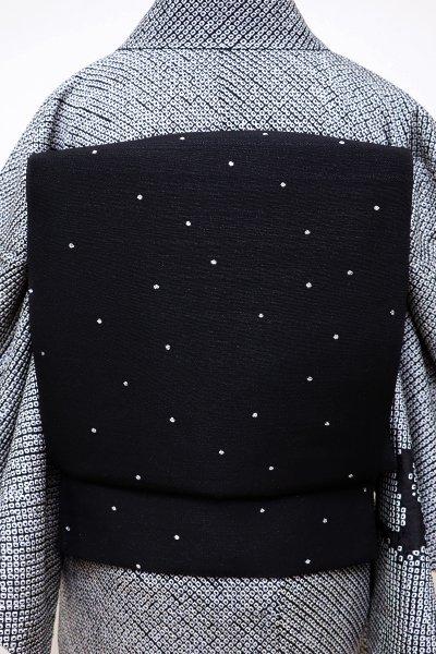 銀座【L-4240】洒落袋帯 黒色×銀色 ドット