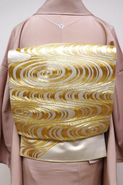 銀座【L-4242】刺繍 袋帯 生成り色 光琳水