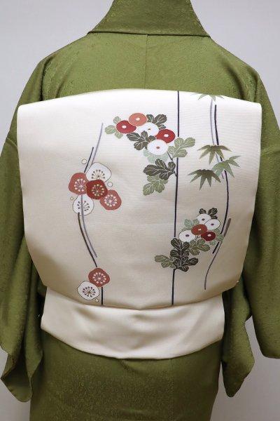 銀座【K-5747】塩瀬 染名古屋帯 淡い鳥の子色 梅と菊の図