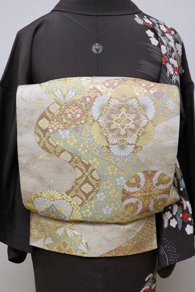 銀座【L-4248】袋帯 練色 銘「織彩吉祥錦」