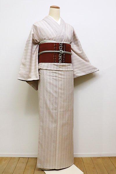 銀座【A-2679】長井紬 灰梅色 多彩な細縞(反端付)