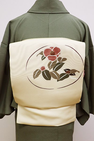あおき【K-5756】塩瀬 染名古屋帯 鳥の子色 椿の図