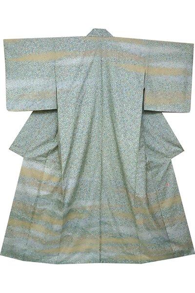 銀座【着物2352】牛首紬地 訪問着 薄青色 霞に小桜 (落款入)