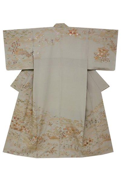 銀座【着物2353】総刺繍訪問着 青白橡色 四季折々の花図