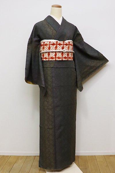 銀座【A-2683】←ユッタリ→紬 樺茶色 網目に竪暈かし
