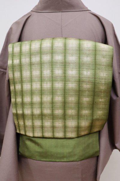 銀座【K-5757】紬地 絞り染め 名古屋帯 根岸色 竪縞