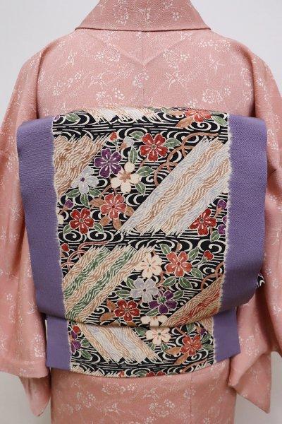 銀座【K-5761】京都 多ち花製 染名古屋帯 半色 花筏の図
