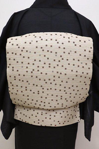銀座【L-4252】洒落袋帯 練色 抽象文