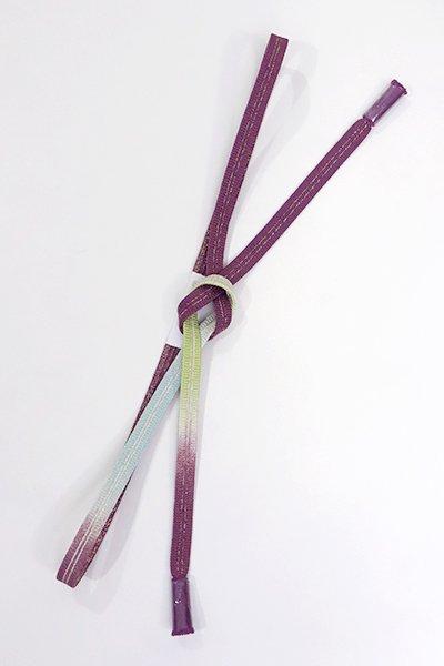 銀座【G-1116】京都 衿秀製 帯締め 平組 蒲葡色×空色×若菜色 暈かし (新品)