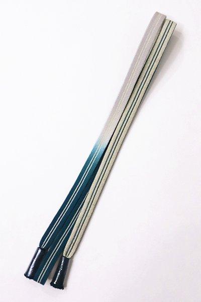 銀座【G-1121-2】京都 衿秀製 帯締め 平組 鉄色×白色 暈かし(新品)