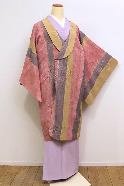 銀座【E-998】スワトウ刺繍 和装コート 退紅色×黄橡色×源氏鼠色 花車文