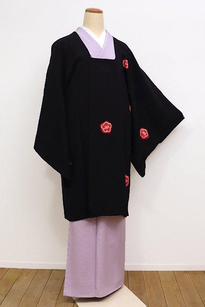 銀座【E-1004】縮緬地 絞り染め 道行コート 黒色×赤色 梅文