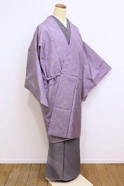 銀座【E-1005】本場大島紬 道中着 浅紫色 斜め段に七宝文(証紙付)