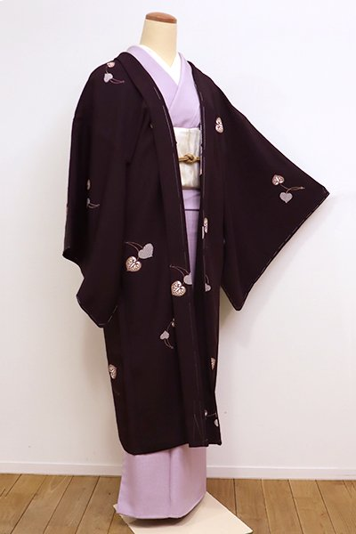 銀座【E-1006】羽織 紫鳶色 葵文(しつけ付)