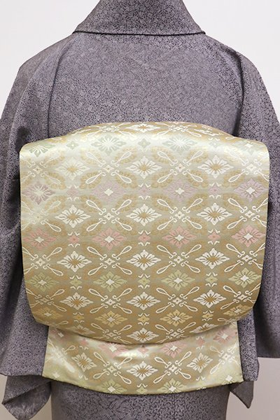 銀座【L-4254】西陣 陰山織物製 箔屋清兵衛 袋帯 淡い抹茶色 有職文 (新品・証紙付・落款入)