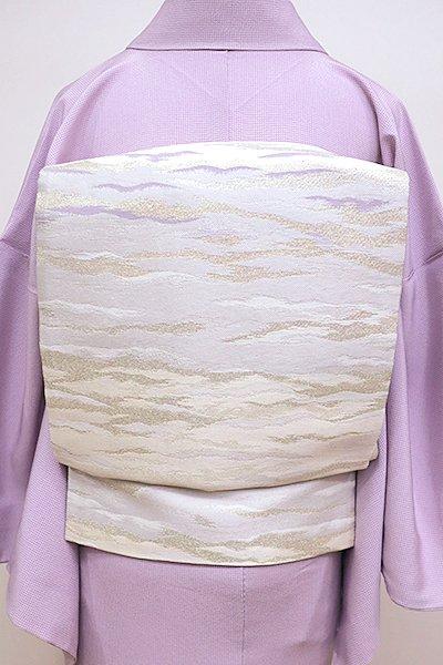 銀座【L-4255】袋帯 白練色 段暈かしに霞文