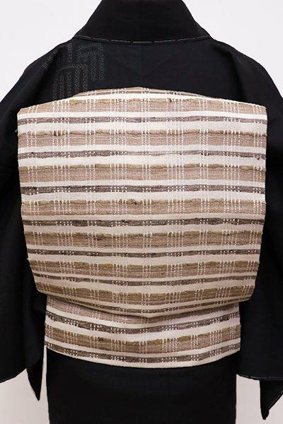 銀座【K-5765】野蚕糸紬地 織名古屋帯 練色×白茶色 横段(新品)