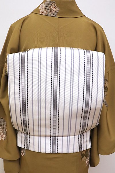 銀座【L-4259】リバーシブル 洒落袋帯 白色 縞