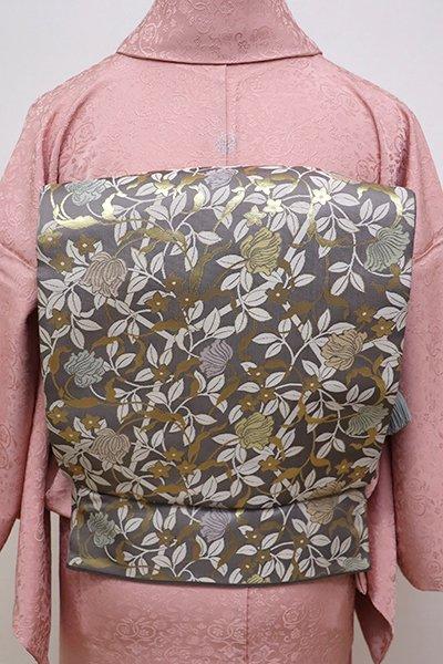 銀座【L-4260】袋帯 江戸鼠色 花枝の図