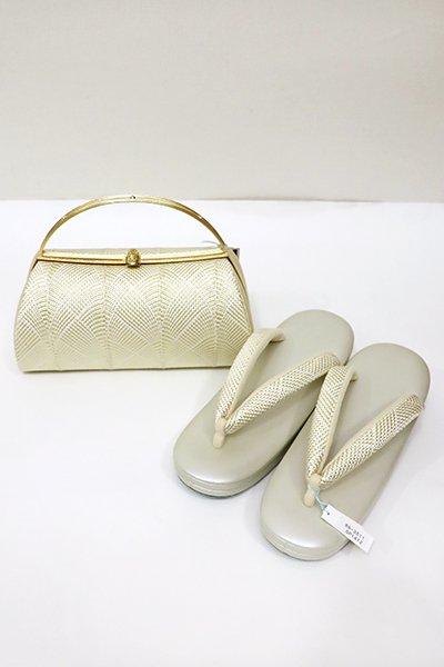 銀座【G-1123】京都 衿秀製 和想庵 フォーマル草履・バッグセット 白色×金色(新品・未使用)