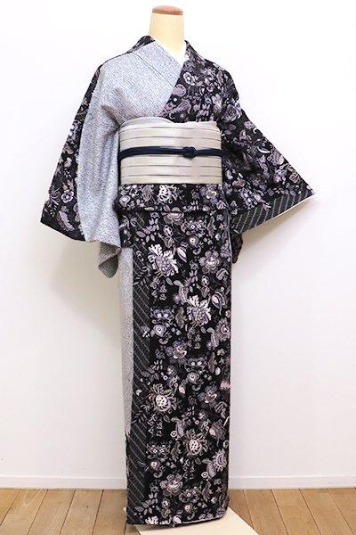 銀座【B-2069】訪問着 黒色×白花色 バティック花文