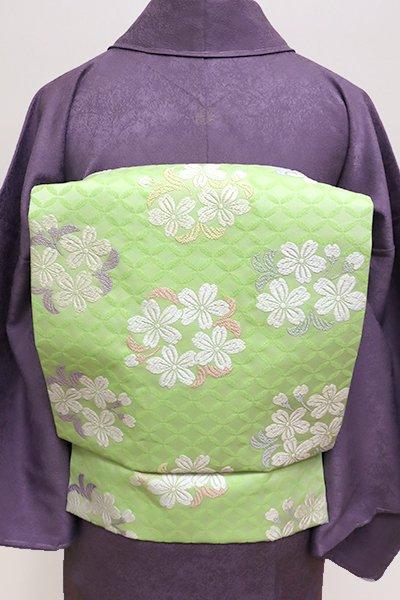 銀座【K-5770】西陣製 織名古屋帯 若菜色 桜の丸文(証紙付・新品)