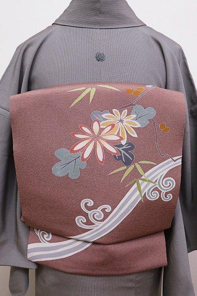 銀座【K-5771】縮緬地 染名古屋帯 鴇浅葱色 波に菊や梅など(落款入)