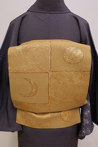 あおき【L-4263】紬地 洒落袋帯 飴色 市松に月の図