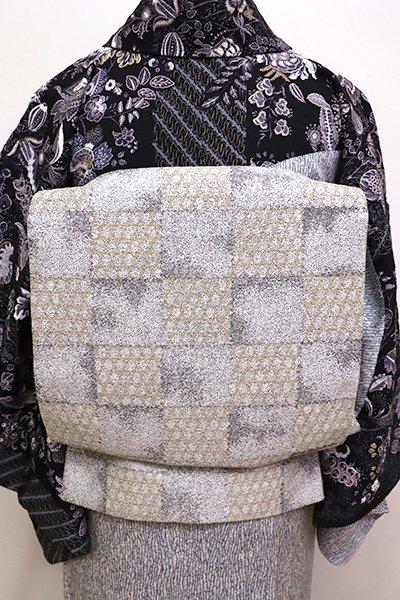 銀座【L-4264】洒落袋帯 白鼠色 市松に籠目文