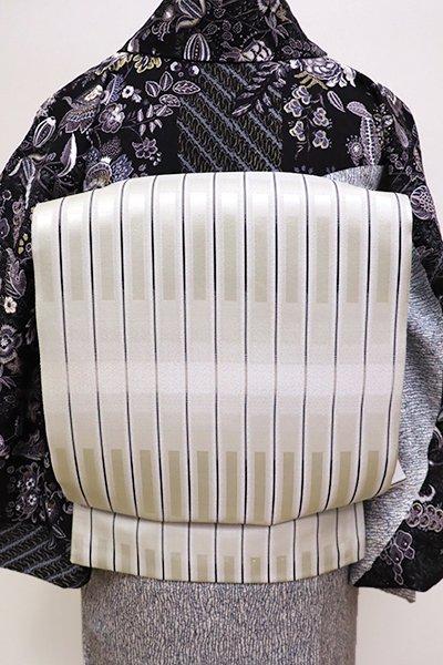 銀座【L-4265】西陣製 洒落袋帯 絹鼠色 幾何文(証紙付)