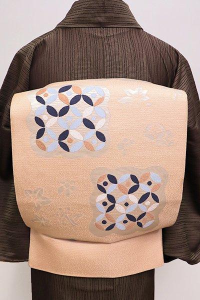 銀座【L-4267】西陣製 洒落袋帯 人色 七宝文など(証紙付)