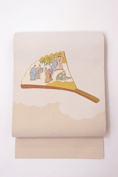 銀座【帯2889】西陣 川島織物製 爪掻本綴 八寸名古屋帯