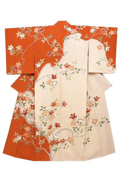 銀座【着物2364】繍一ッ紋訪問着 練色×代赭色 橘の図 (ますいわ屋扱い)