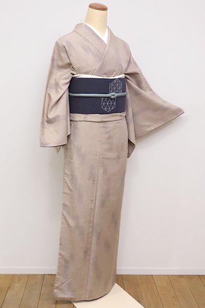 銀座【A-2695】←ユッタリ→結城紬 はたおり娘 白茶色 抽象文(証紙付)