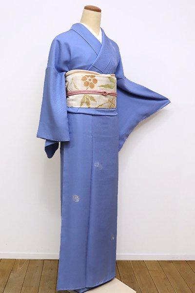あおき【D-2113】染一ッ紋 縫取御召 小紋 薄群青色 花の丸文