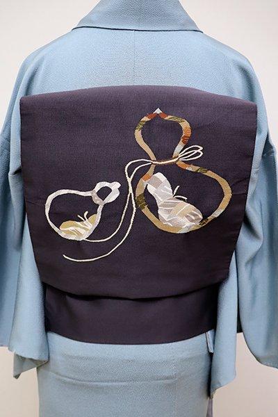 あおき【K-5781】綴れ織 名古屋帯 藍鉄色 瓢箪の図(ますいわ屋扱い)