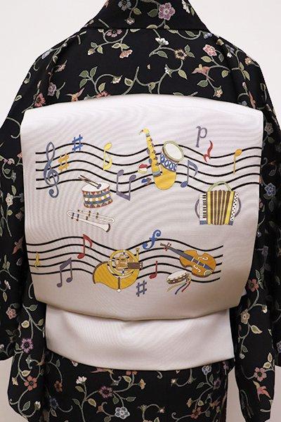 銀座【K-5783】塩瀬 染名古屋帯 絹鼠色 楽器の図