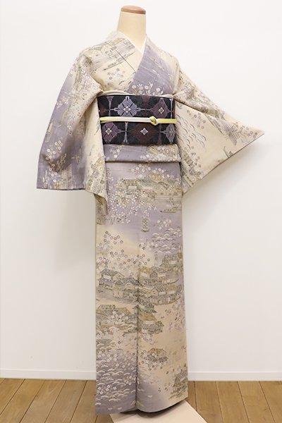 銀座【B-2074】←ユッタリ→京都しょうざん製 生紬地 訪問着 薄卵色×源氏鼠色 茶屋辻文
