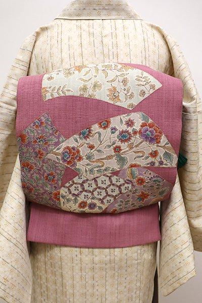 銀座【L-4275】紬地 洒落袋帯 退紅色 更紗花文