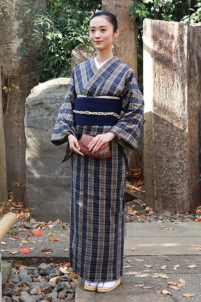 銀座【着物2366】浦野理一作 紬織着物 やたら格子 (しつけ付・畳紙付)