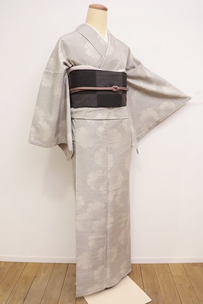 銀座【A-2698】紬 灰白色 雪輪文