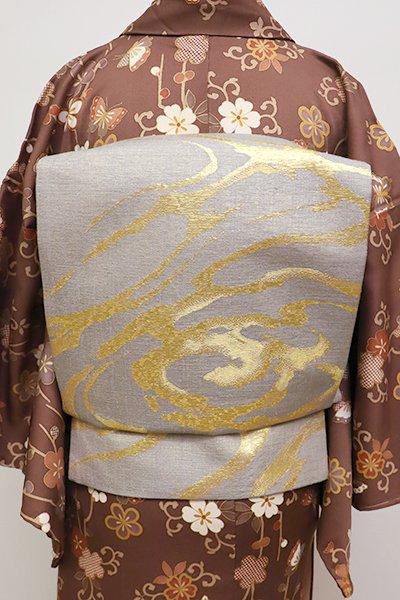 銀座【L-4281】洒落袋帯 利休白茶 雲文