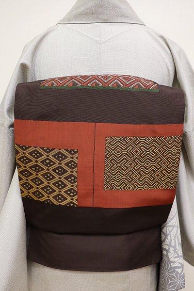 あおき【L-4282】西陣 今河織物製「木屋太」袋帯 黒鳶色 割付文の段(落款入)