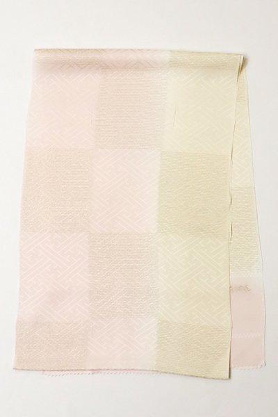 銀座【G-1143-2】京都 衿秀製 帯揚げ 金糸市松 薄桜色×練色 二色暈かし(新品)