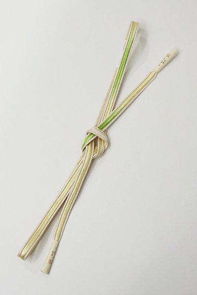 銀座【G-1146】京都 衿秀製 手組帯締め 淡黄色×柳色 二色暈かし(新品)
