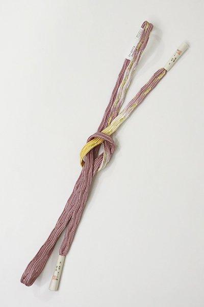 銀座【G-1148】京都 衿秀製 手組帯締め 貝の口組 梅鼠色×卵色 二色暈かし(新品)