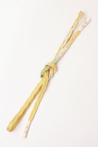 【G-1151】京都 衿秀製 手組帯締め 貝の口組 卵色×柳色 二色暈かし(新品)