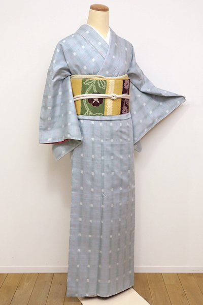 銀座【A-2704】←ユッタリ→紬 秘色色 絣縞