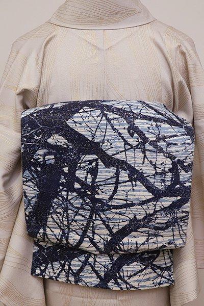 あおき【L-4290】洒落袋帯 濃藍色 抽象文(証紙付・落款入・藍香房扱い)